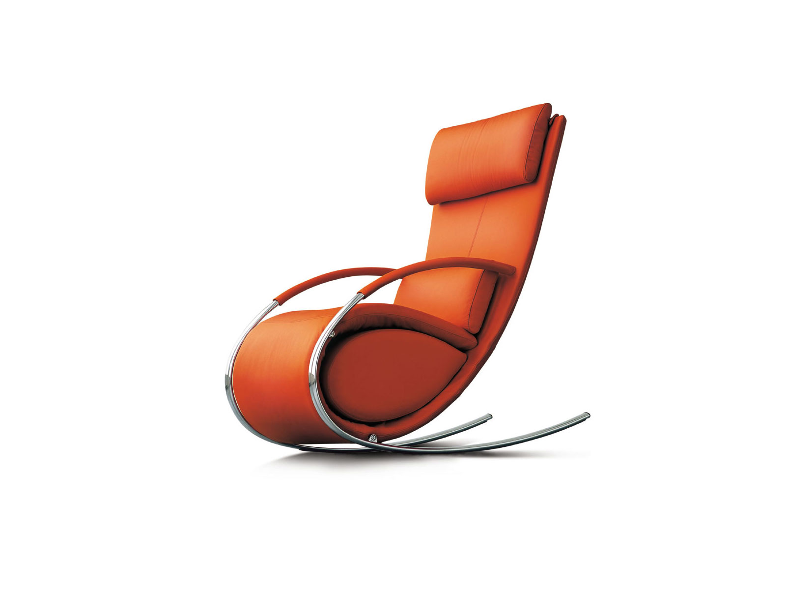 furniture-modern-chair-designs-that-modern-rocking-chair-with-the-top-of-the-foam-wrapped-leather-colored-orange-and-have-a-curved-legs-from-iron-modern-armchair-design-ideas